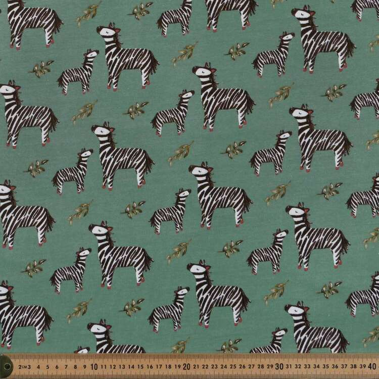 Zebra Printed 112 cm Organic Cotton Jersey Fabric