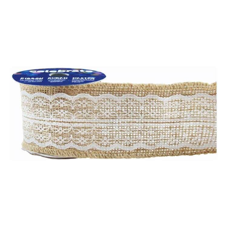 Celebrate Poly Lace 60 mm Hessian Ribbon