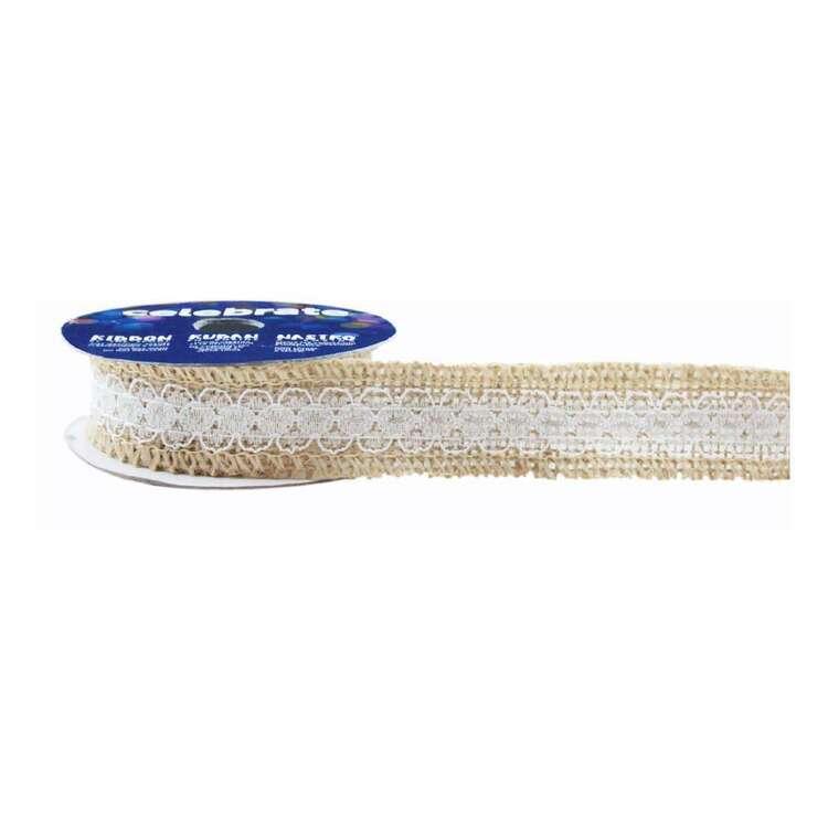 Celebrate Poly Lace 25 mm Hessian Ribbon