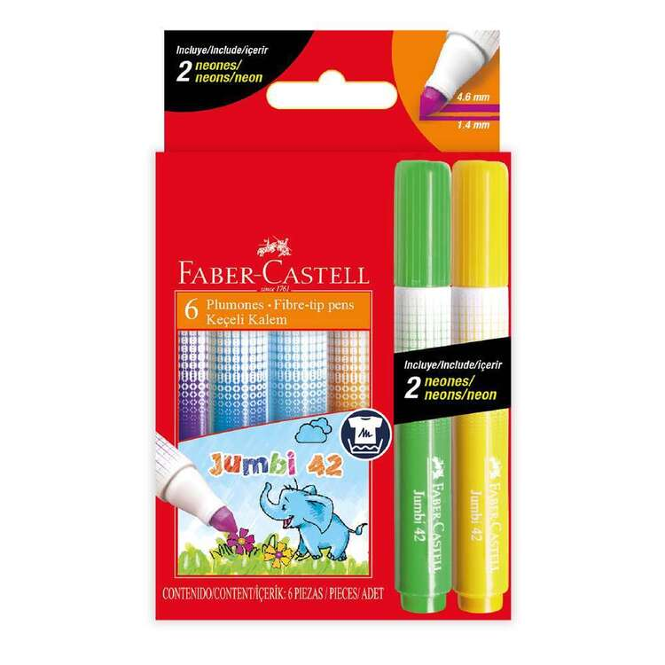 Faber Castell 6 Pack Fibre Tip Markers