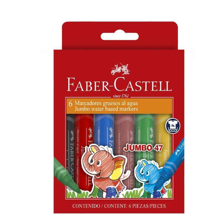 Faber Castell Jumbo 6 Pack Colour Markers