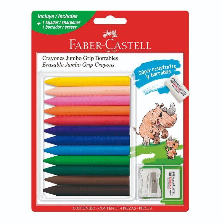 Faber Castell Erasable Jumbo 12 Pack Grip Crayons