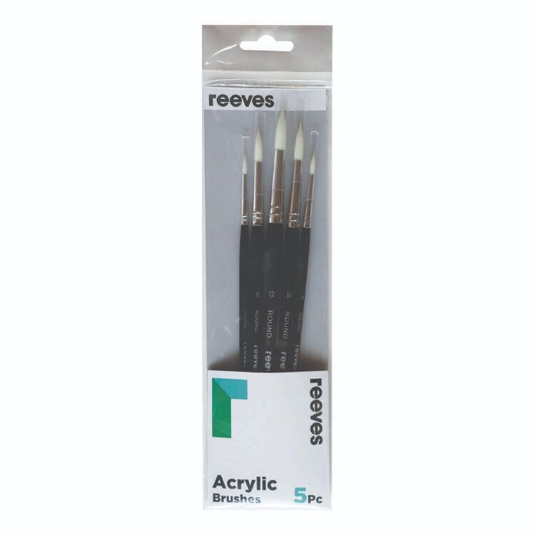 Reeves 5 Pack Acrylic Synthetic Round Brush Set