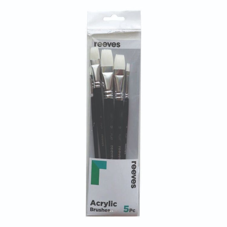 Reeves 5 Pack Acrylic Synthetic Flat Brush Set