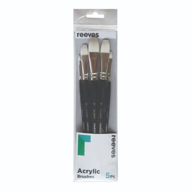 Reeves 5 Pack Filbert Acrylic Synthetic Flat Brush Set