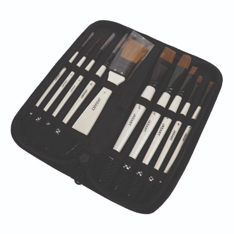 Jasart Pearl 10 Pack Short Handle Brush Set