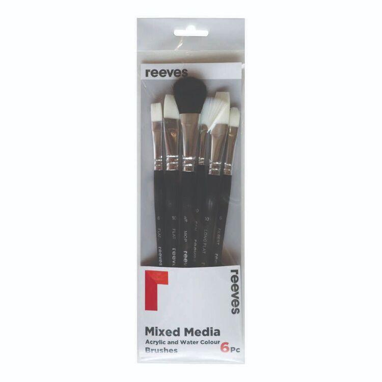Reeves 6 Pack Acrylic & Watercolour Mixed Media Brush Set