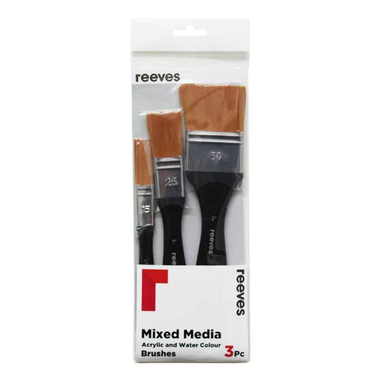 Reeves 3 Pack Acrylic & Watercolour Gold Synthetic Splater Brush Set