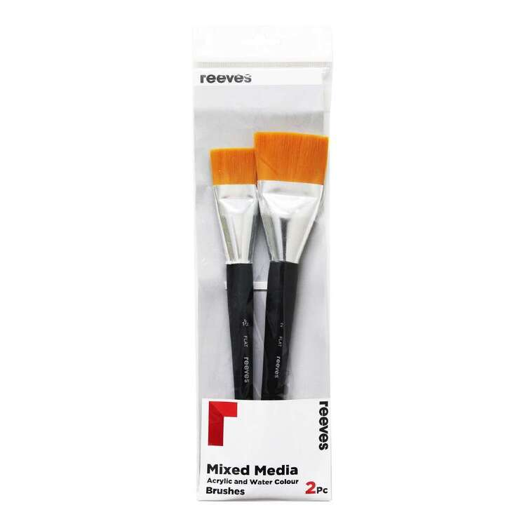 Reeves 2 Pack Acrylic & Watercolour Gold Synthetic Brush Set