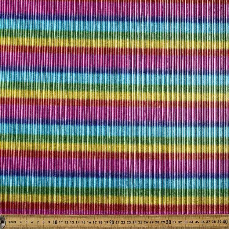 Horizontal Pleated Metallic Rainbow Dance Knit Fabric