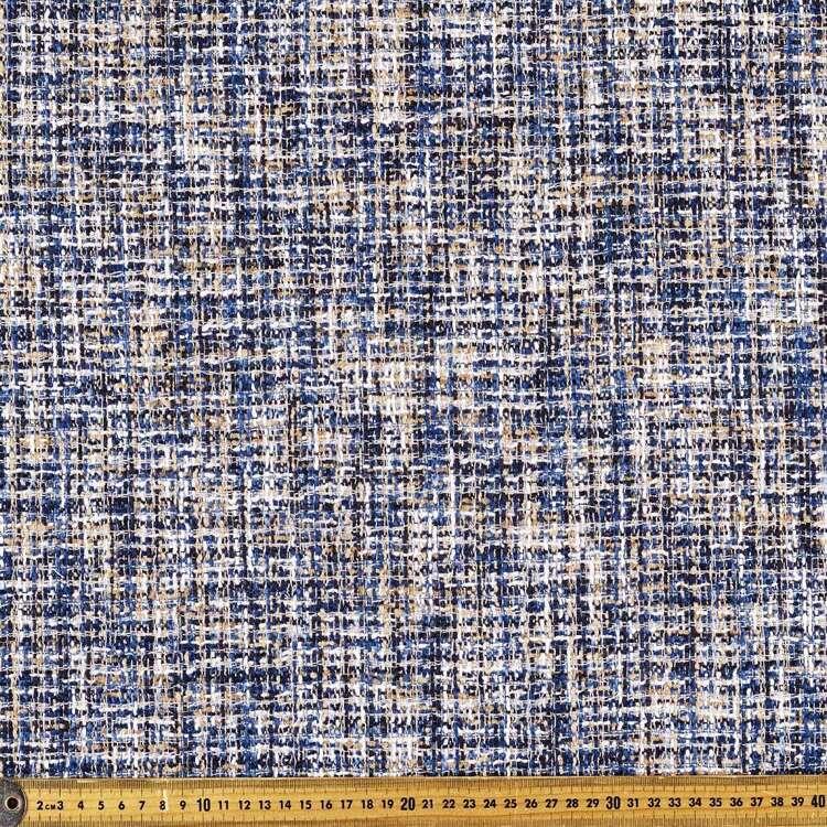 Printed Indigo Boucle Suiting Fabric