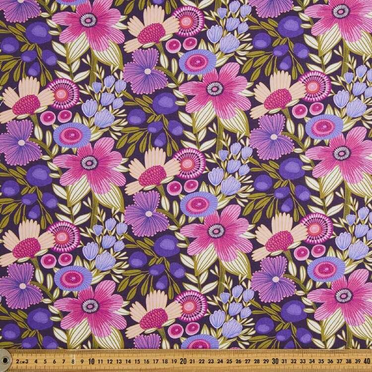 Kirsten Katz Viola Plum Flowers Cotton Fabric