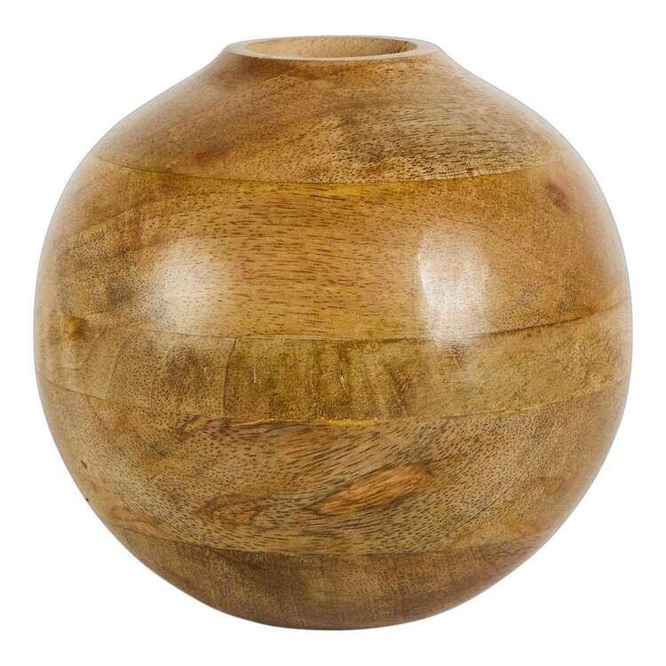Living Space Round Medium Wooden Vase