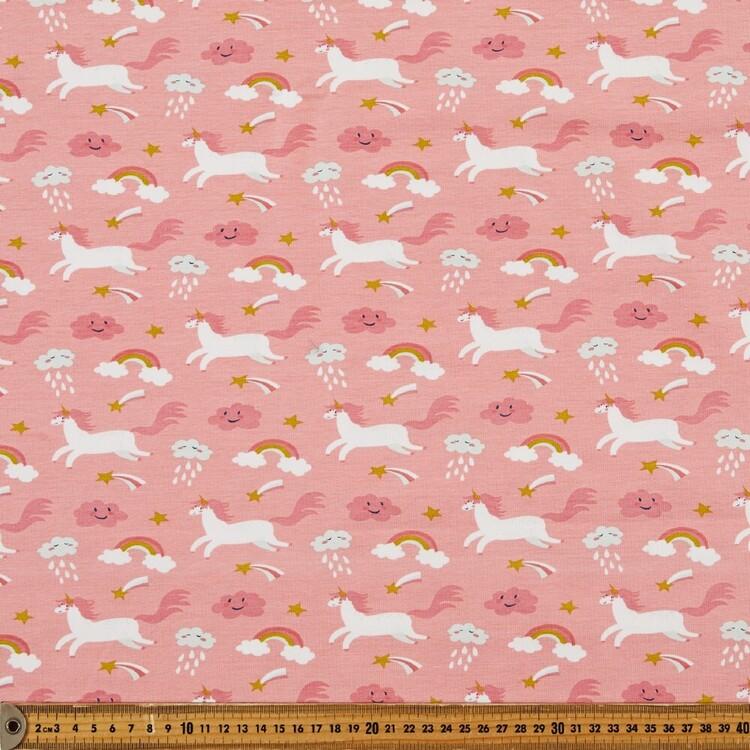 Playful Unicorns Printed 148 cm Cotton Spandex Fabric