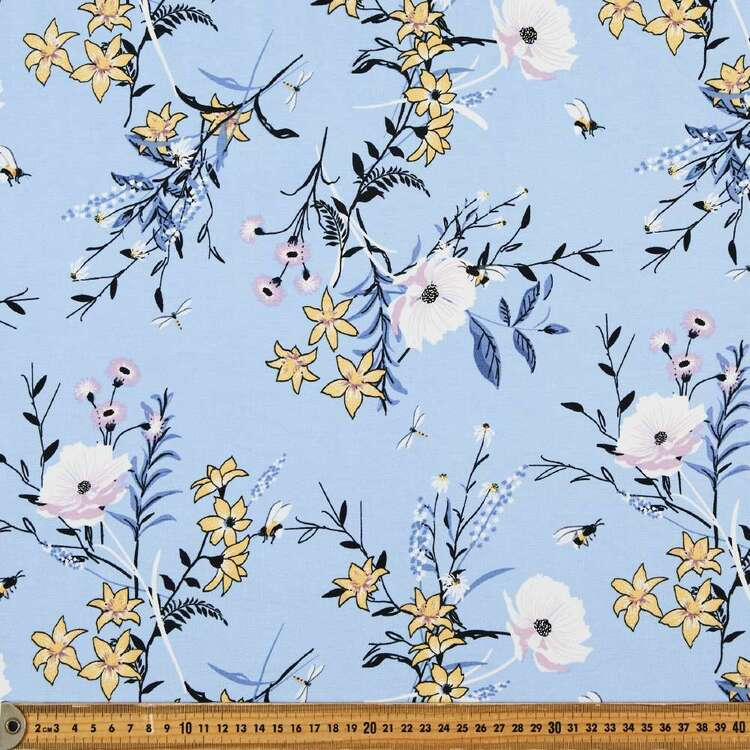 In Bloom Printed 148 cm Rayon Spandex Jersey Fabric