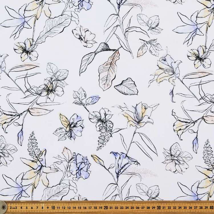 Floral Sketch Printed 148 cm Rayon Spandex Jersey Fabric