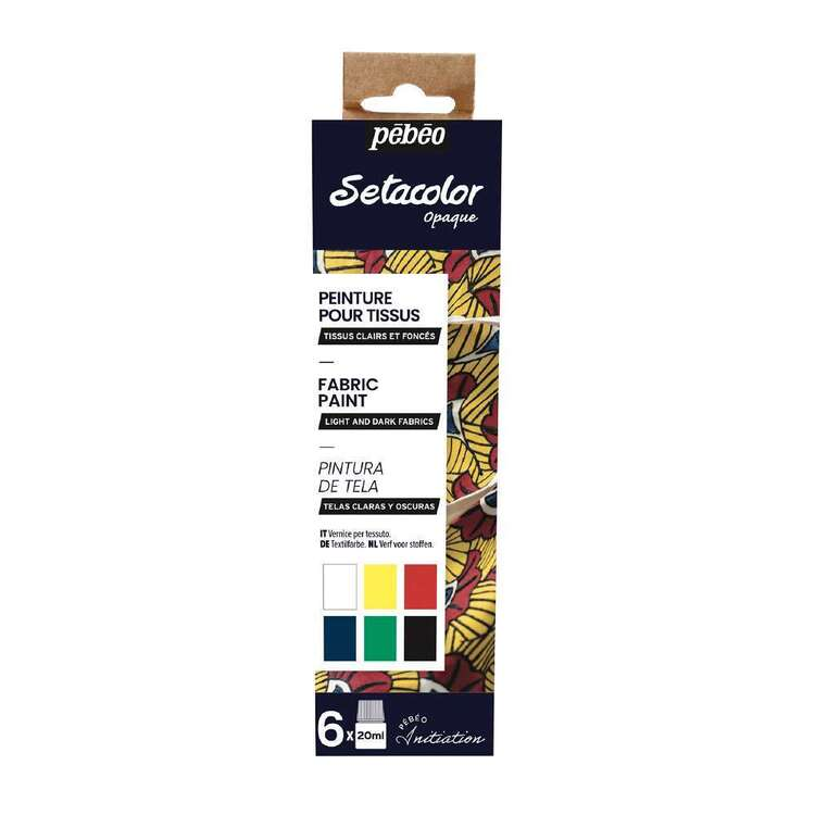 Pebeo 6 Pack 20 ml Opaque Fabric Paint Set