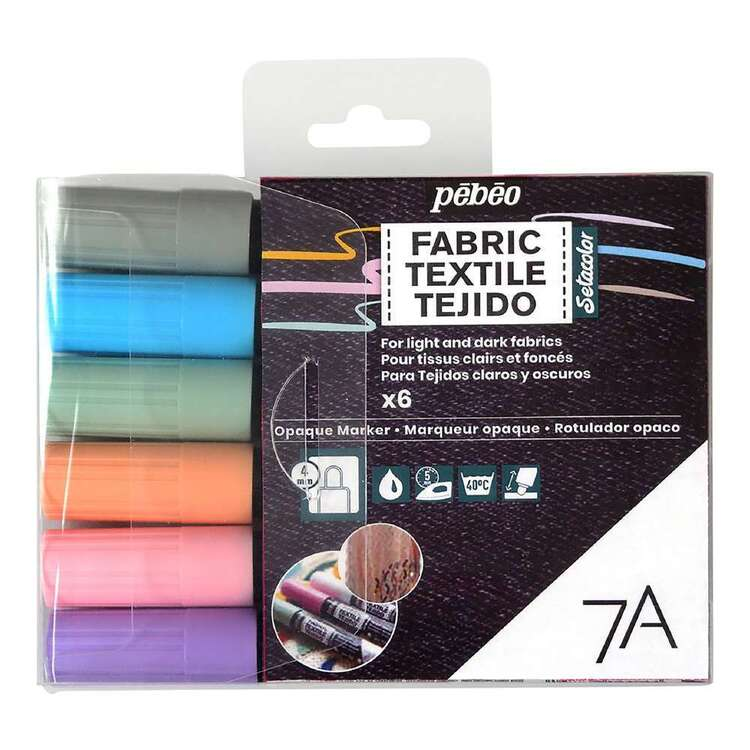 Pebeo 6 Pack 7A Multicolour Opaque Fabric Marker Set