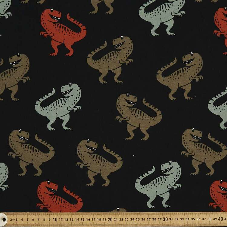 Dancing Dinosaur Printed 112 cm Cotton Buzoku Duck Fabric