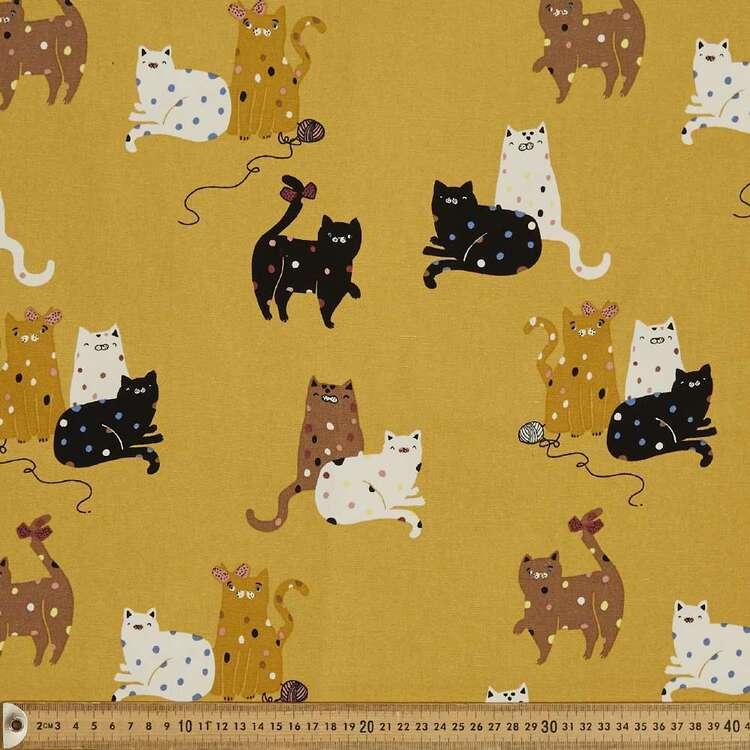 Sweet Kitties Printed 112 cm Cotton Buzoku Duck Fabric