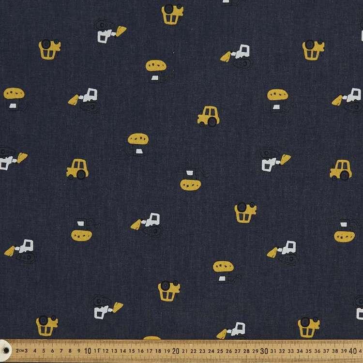 Bull Dozers Printed 142 cm Cotton Denim Fabric