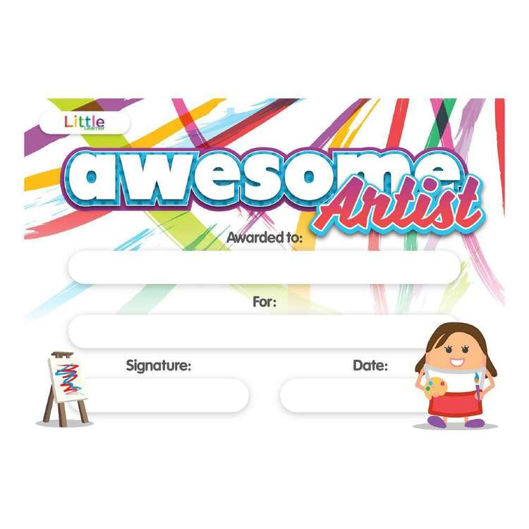 Little Learner 10 Pack Awesome Artist Certificate