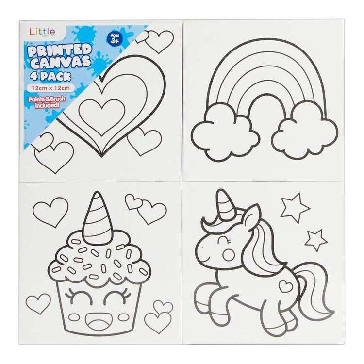 Little 4 Pack 12 x 12 cm Canvas Unicorn Set