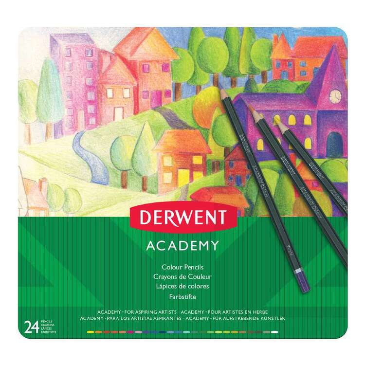Derwent Academy 24 Pack Colour Pencil Tin