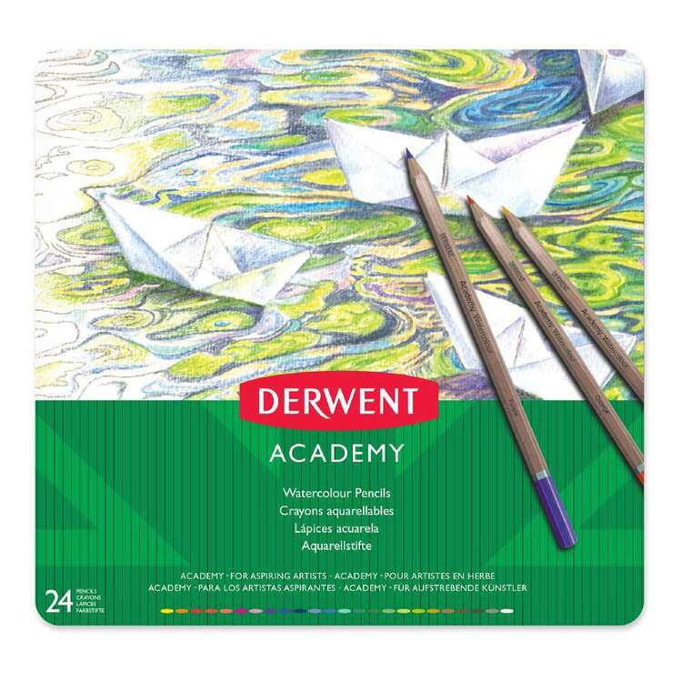 Derwent Academy 24 Pack Watercolour Pencil Tin