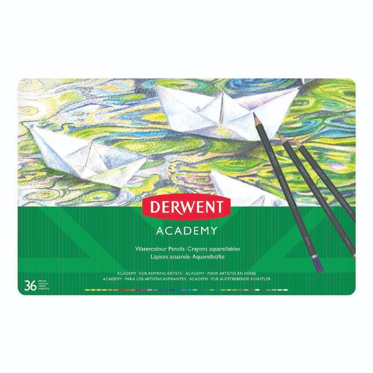 Derwent Academy 36 Pack Watercolour Pencil Tin