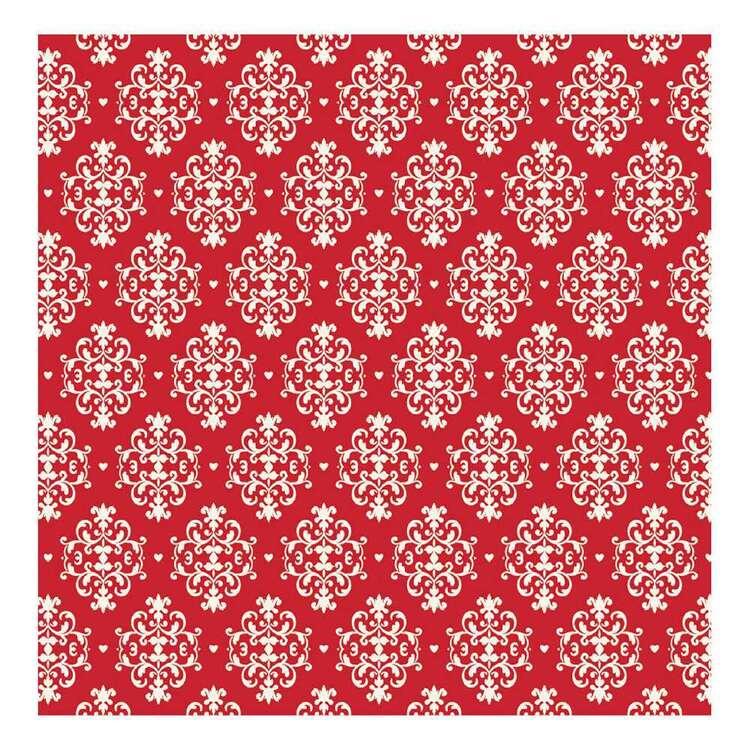 Ruby Rock-It Damasco Red Damask Glittered Paper