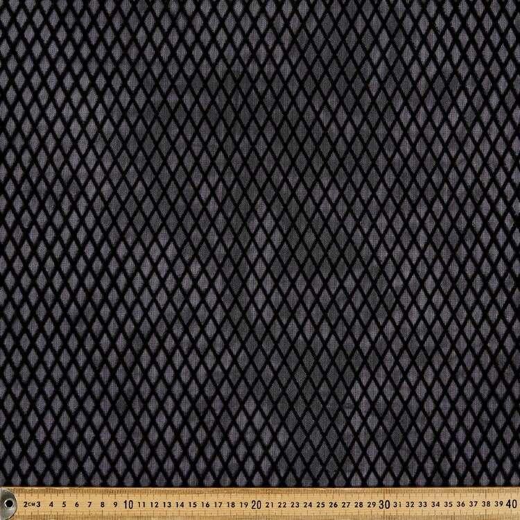 Grid Printed 150 cm Nylon Polyester Flocked Stretch Mesh Fabric