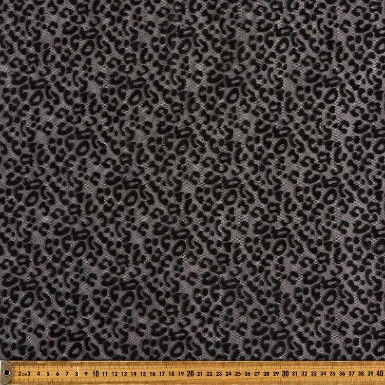Animal Printed Flocked Stretch Mesh Fabric