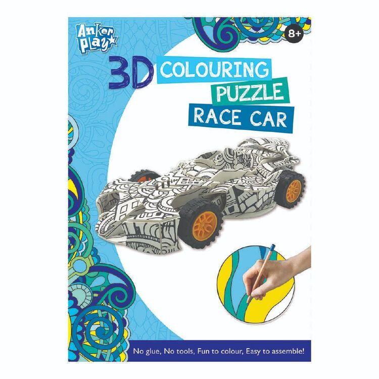 3D Colouring Race Car Puzzle