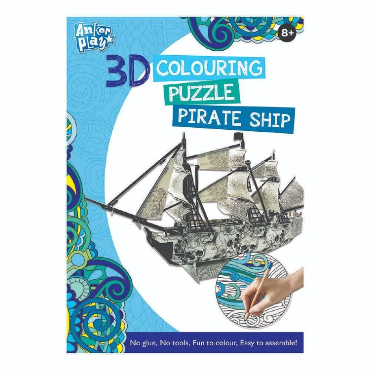 3D Colouring Pirate Ship Puzzle