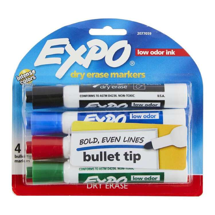 Expo 4 Pack Bullet Tip Assorted Markers