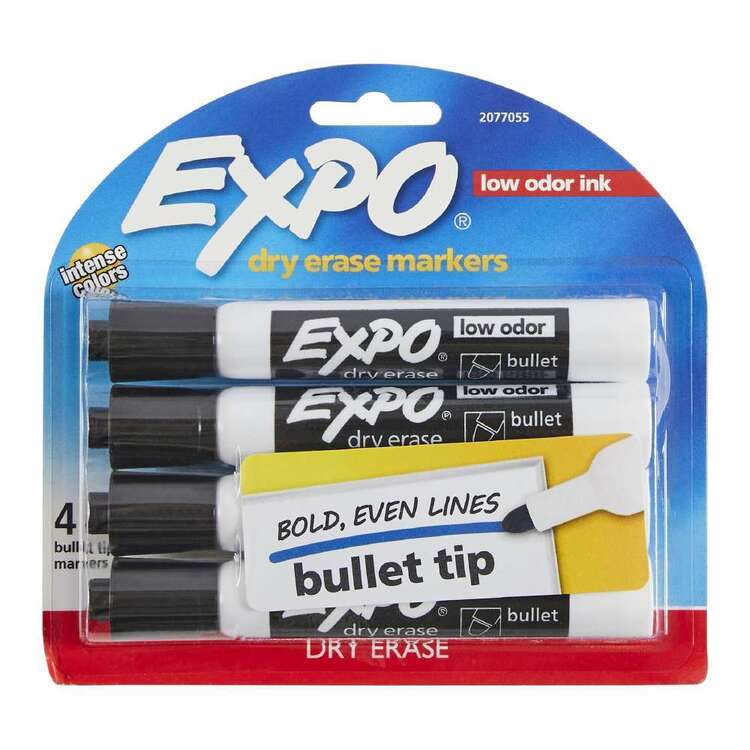 Expo 4 Pack Bullet Tip Black Markers