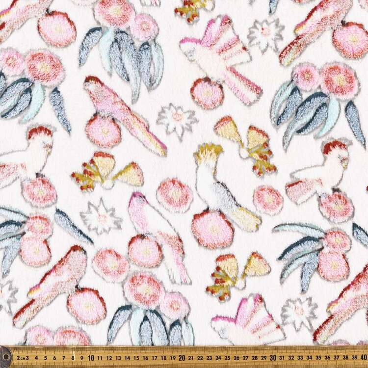 Jocelyn Proust Cockatoo Printed 148 cm Burnout Polar Fleece Fabric