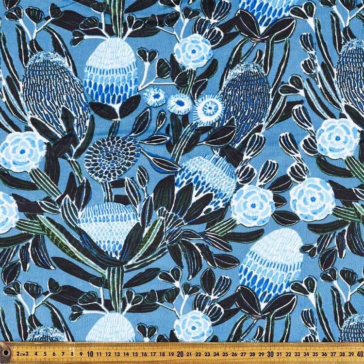 Kirsten Katz Blue Banksia Printed 148 cm Minky Fleece Fabric