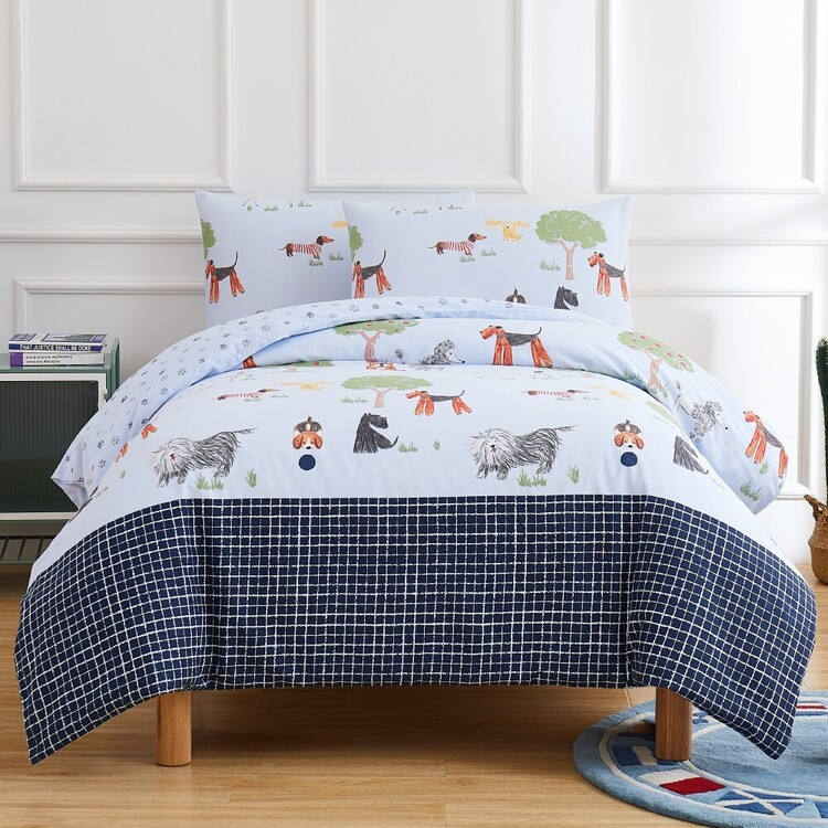 Kids House Woof Washed Cotton Quilt Cover Set