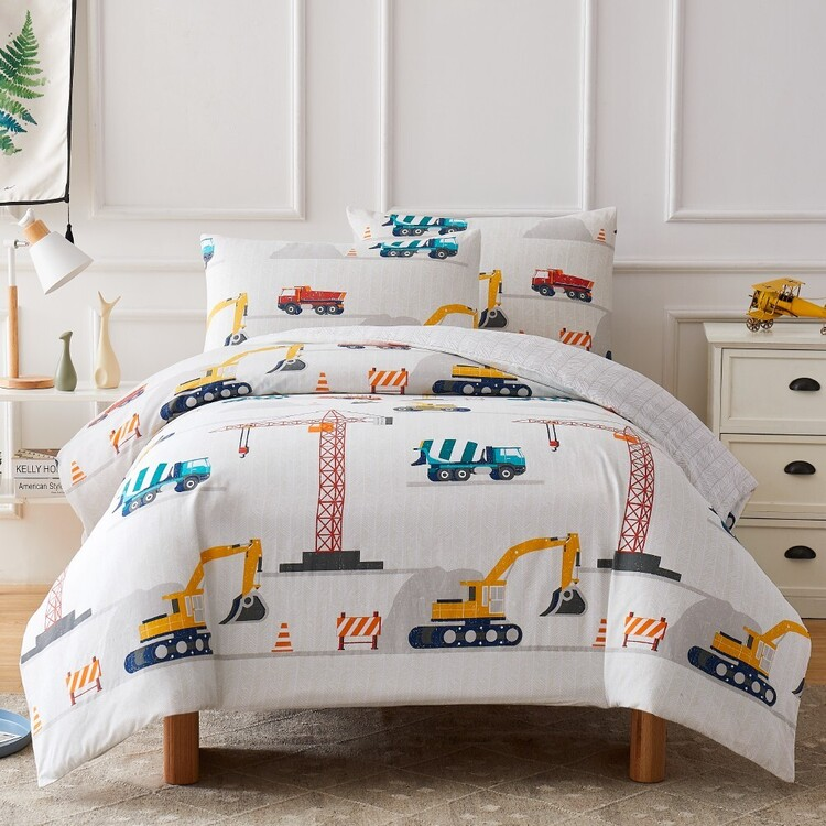 Kids House Construction Washed Cotton Quilt Cover Set