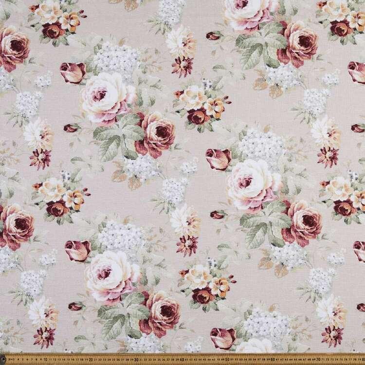 Astoria Roses 150 cm Cotton Linen Fabric