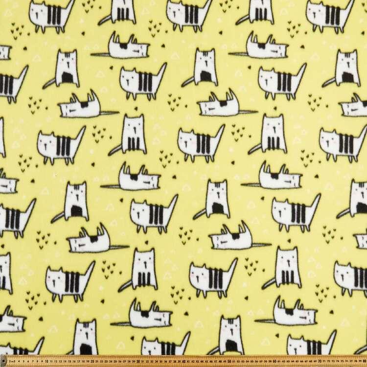 Lazy Cat Printed 148 cm Peak Polar Fleece Fabric