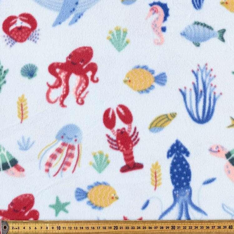 Ocean Creatures Printed 148 cm Polyester Husky Polar Fleece Fabric