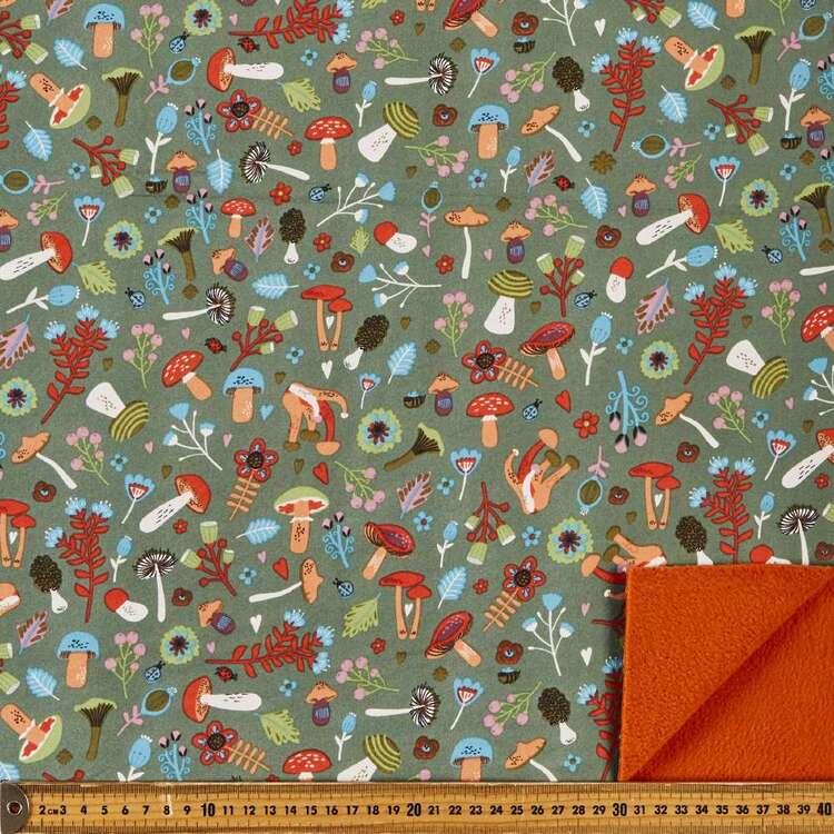 Mushrooms Printed 148 cm Soft Shell Fleece Fabric