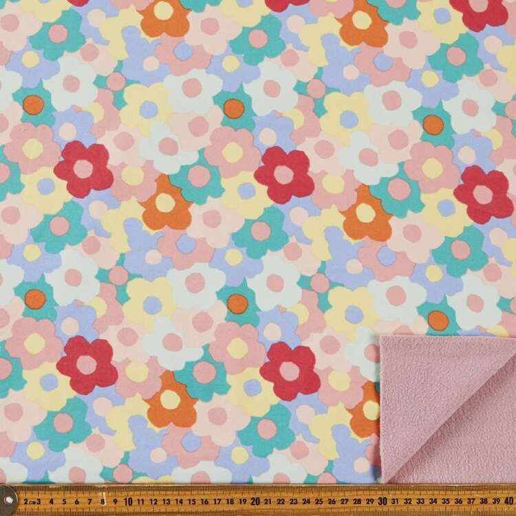 Flowers Printed 148 cm Soft Shell Fleece Fabric