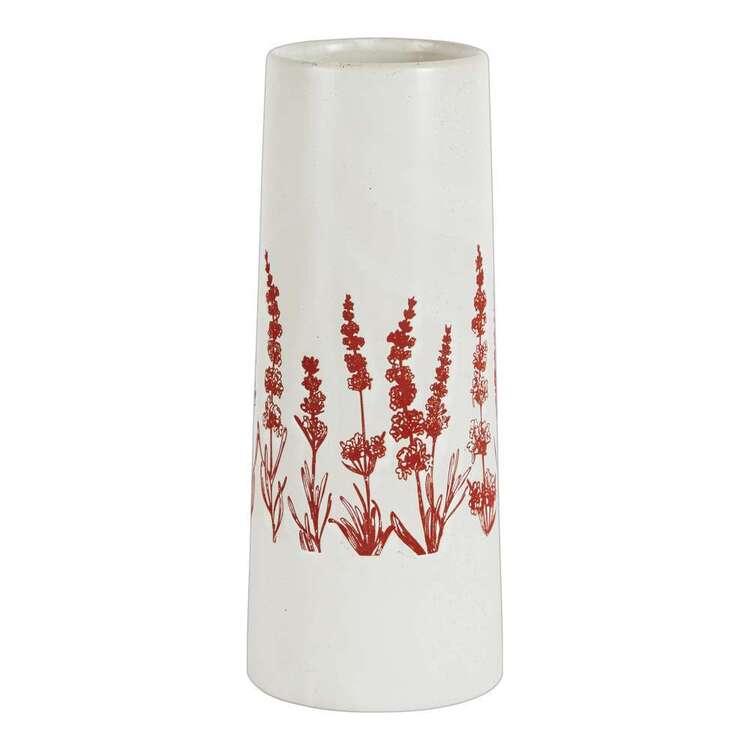 Living Space 10.5 x 26.8 cm Floral Print Ceramic Vase