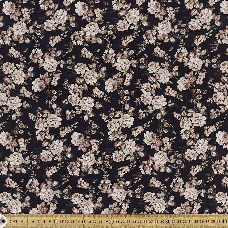 Vintage Rose Digital Printed 142 cm Combed Cotton Sateen Fabric
