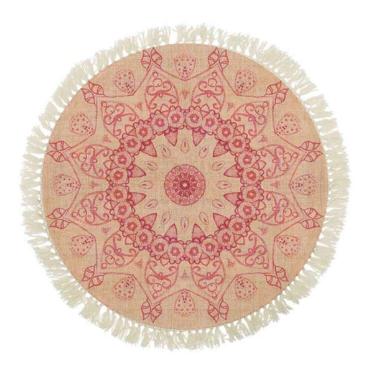 Ombre Home Bloom Fields Mandala Printed Round Cotton Rug