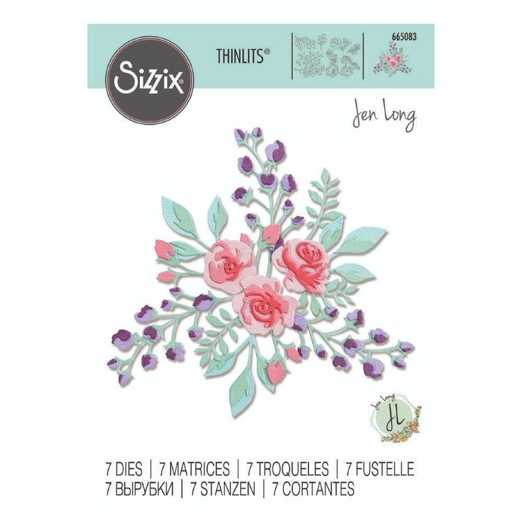 Sizzix Thinlits 7 Packs By Jen Long Floral Layers Die Set